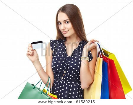 Happy Shopping Woman With Credit