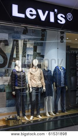 HURGHADA, EGYPT - MARCH 16, 2014: Levi Strauss store. Founded in 1853, Levi Strauss is an American clothing company best known for its brand of denim jeans.