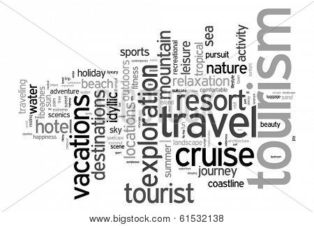 Tourism and travel concept word cloud poster