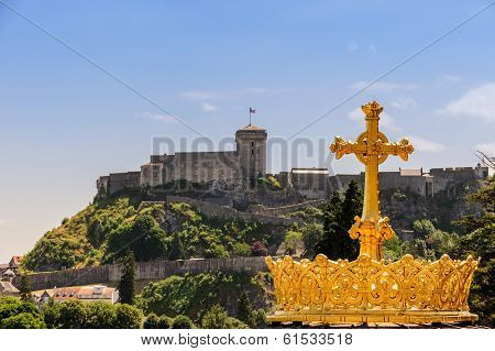 The Gilded Crown Of The Lourdes Basilica