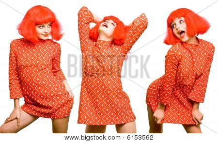 Baby Doll Expressive Girl In Red Wig