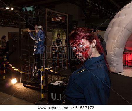 Zombie Cosplayer At Cartoomics 2014 In Milan, Italy