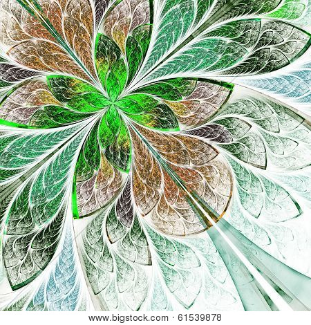 Beautiful fractal flower in green and beige. Computer generated graphics. poster