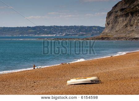 boat on the beach on the jurassic coastline
