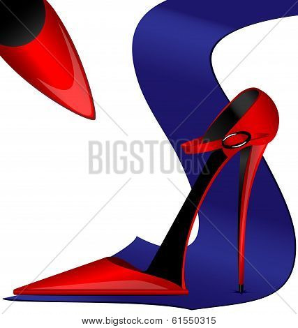 red ladys shoes and blue mans tie poster