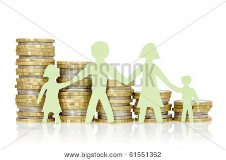 Paper Family And Stacks Of Coins