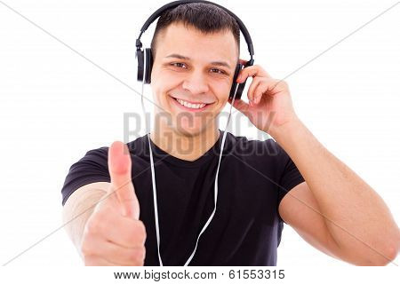 Smiling Dj With Headphones Showing Thumbs Up