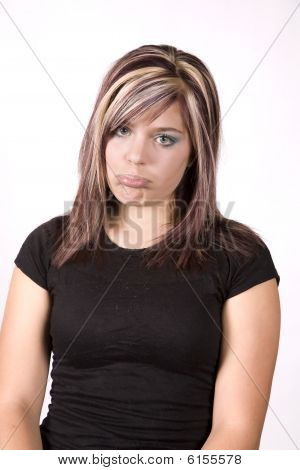 Expression Girl Sad Black Shirt