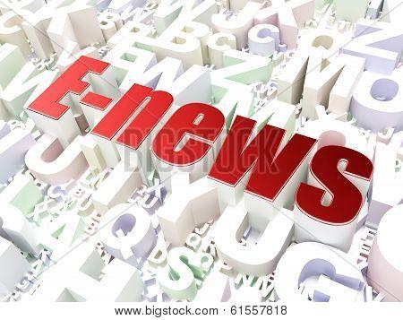 News concept: E-news on alphabet background