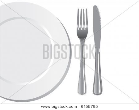 plate knife and fork vector