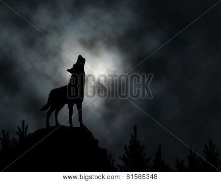 Illustrated silhouette of a howling wolf with moonlit clouds background