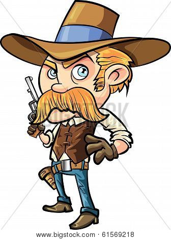 Cute cowboy cartoon with mustache. Isolated