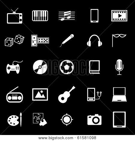 Entertainment Icons On Black Background