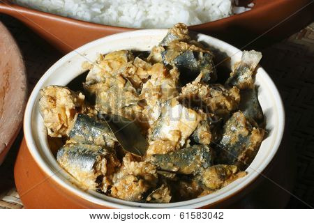 Close up view of Fish varutharacha curry- a South Kerala style Fish Curry popular in South India. poster