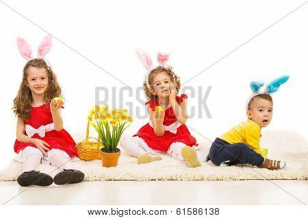 Three Kids With Bunny Ears