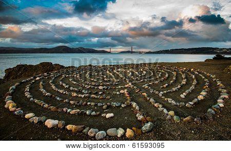 Golden Gate bridge from labyrinth