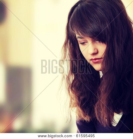 Young teen woman with depression