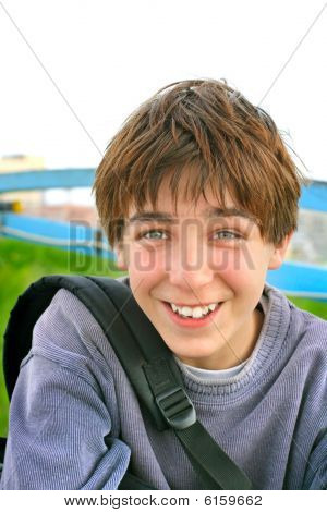 cheerful teenager portrait at the abstract background poster