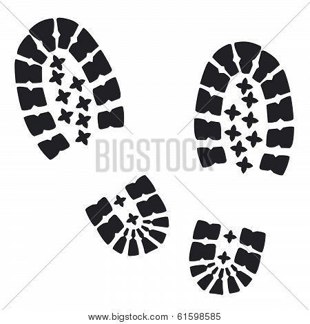 Soldiers  military boots  traces on a white background