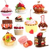 Sweet desserts isolated on white poster