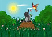 mole with shovel presents flower to bird poster