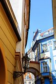 typical Prague alleyway - historical centre of the Prague poster