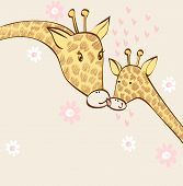 baby giraffe and mom. Hand drawn illustration. poster