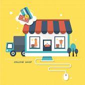 flat design vector illustration concept of online shop poster