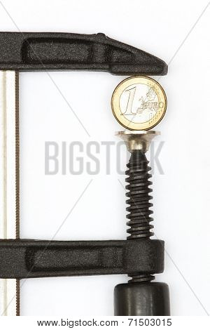 Euro coin squeezed in a clamp on a white background poster