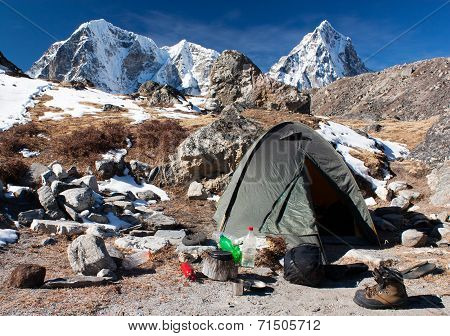 Camping Site With Tent Near The Everest Base Camp - Trek To Everest Base Camp - Nepal
