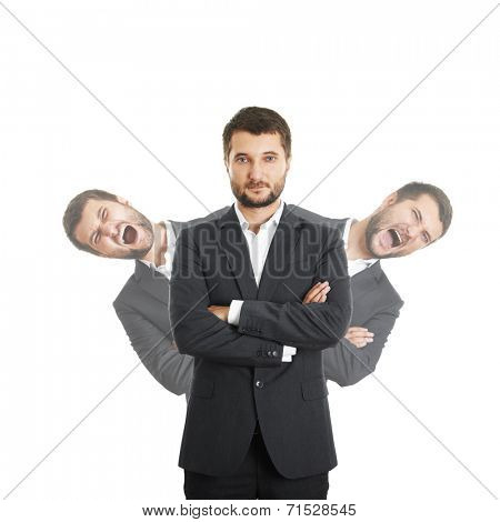 two screaming men behind sure businessman in suit. isolated on white background