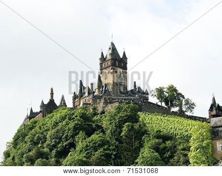 Cochem Imperial Castle On Green Hill In Germany