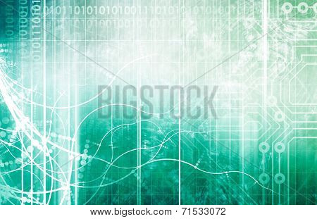Science and Technology Merging into an Abstract Art poster