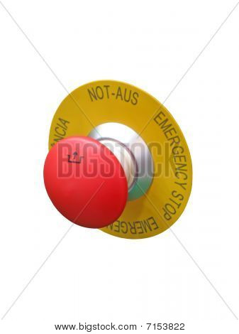 Red Button Isolated, Security Concept isolated on white