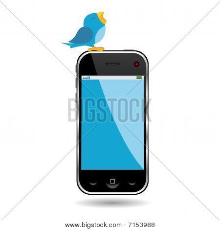 Vogel en mobiele telefoon
