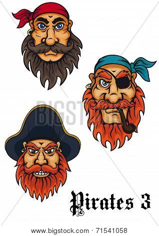 Cartoon fierce pirates and captains set for adventures, tattoo and mascot design poster