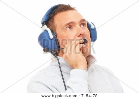 Pilot With Headset Looking Aside