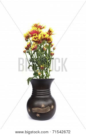 Vase Of Flowers On A White Background