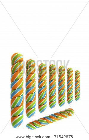 Colourful Candy Over The White Background
