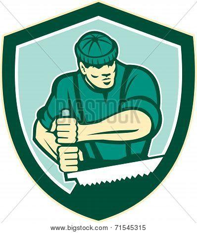 Lumberjack Crosscut Saw Shield Retro
