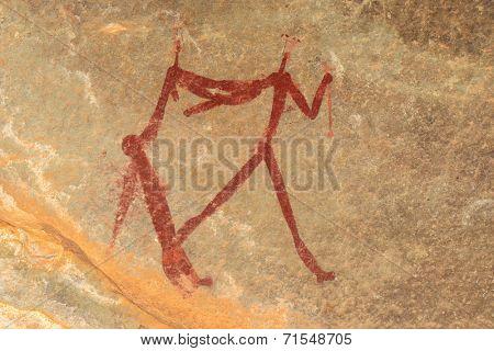 Bushmen (san) rock painting depicting human figures, Drakensberg mountains, South Africa