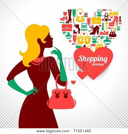 Shopping woman silhouette. Elegant stylish design