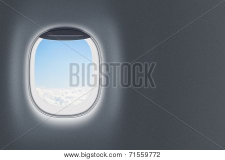 Airplane or jet window on wall with blank space