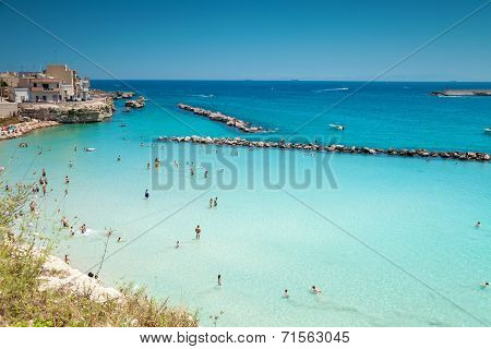 Otranto town with a beautiful beach in Puglia Italy poster