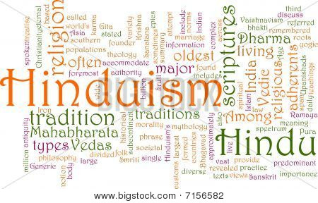Word cloud concept illustration of Hinduism religion poster