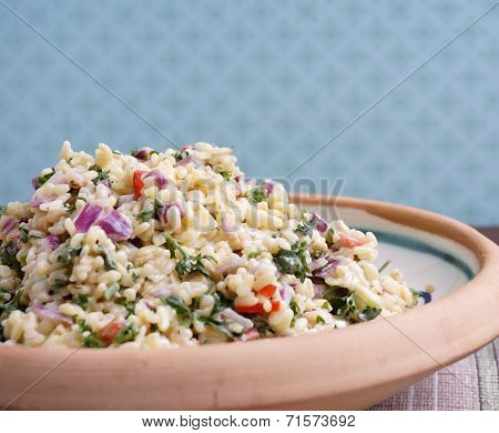 Tabouleh In Bowl On Table