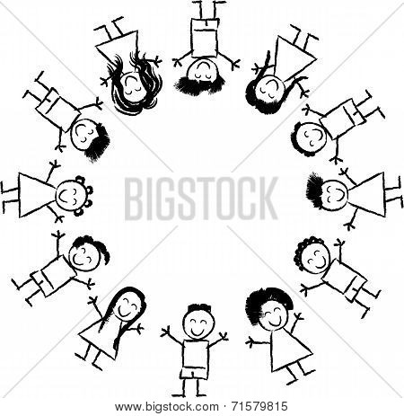 Children And Globe Coloring Page