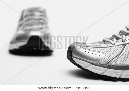 Running sport shoes closeup on white background poster