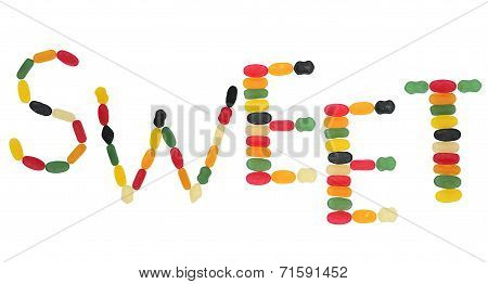 Word Sweet Formed By Wine Gums