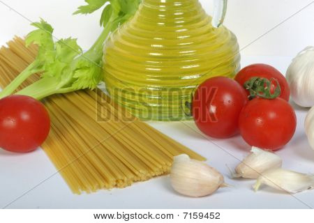 Olive Oil, Spagetti And Vegetables